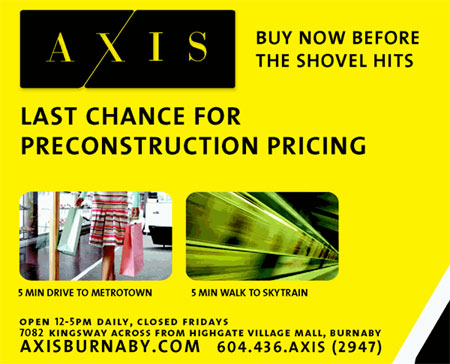 Advertisement for Axis Condo in Burnaby - Click to enlarge