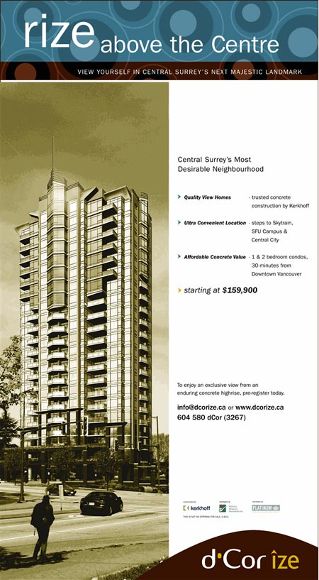 Advertisement for d'Corize condo tower in Surrey, BC