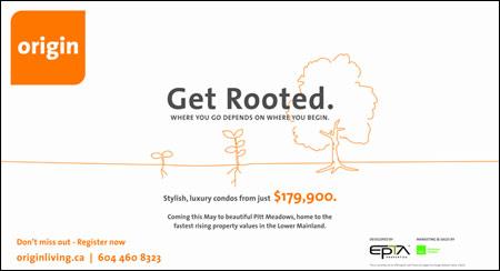 Advertisement for Origin - a condo development in Pitt Meadows, BC